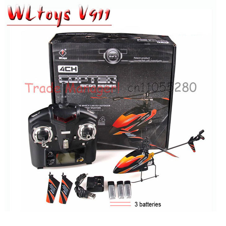 Free shipping V911 Drone 2.4G 4CH RC Helicopter Outdoor rc toys v911 helicopter radio control new version Plug With 3 Batteries(China (Mainland))