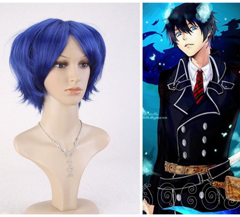 Ohyes NEW Ao no Exorcist Okumura Rin Dark Blue Short Cosplay Wig Party Full Hair