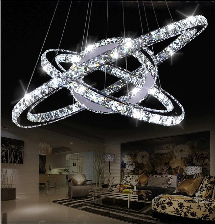 modern crystal chandelier Silver Crystal Ring LED
