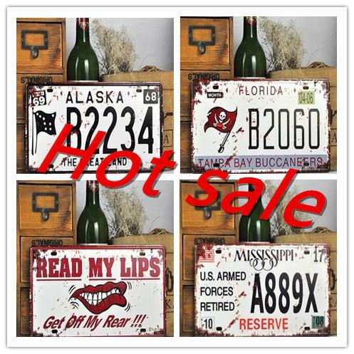 D coration artisanat vintage m tal en relief stickers muraux plaque d 39 immatriculation num rique - Stickers muraux personnalise ...