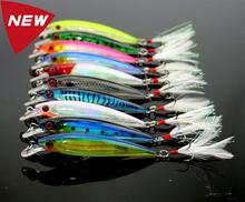 Fishing Lure Wobbler Laser Minnow 6# Feather hook Plastic Artificial hard lure Lifelike bait 10 pcs/lot 10 colors 9cm-8g (MI094)