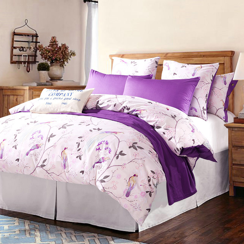 cotton bedding set duvet cover set 4pc white and purple