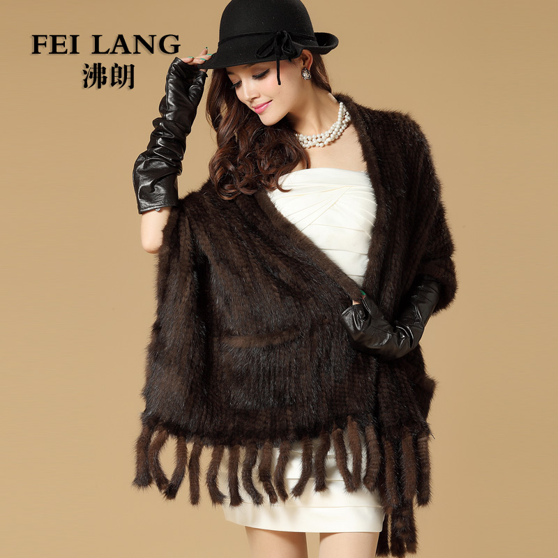 2015 Luxury Autumn Winter Ladies' Genuine Real Knitted Mink Fur Shawls with Tassels Women Fur Pashmina Wraps Bridal Cape VF0510(China (Mainland))