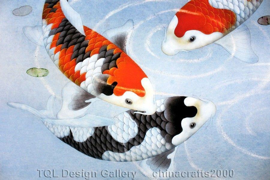 Watercolor Koi Fish Feng Shui Koi Fish Cherry