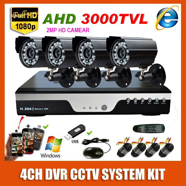 2MP HD 4 Channel Surveillance 1920*1080P Home Black Metal Bullet Security Camera DVR Kit AHD 3000TVL Outdoor 4CH CCTV System Kit(China (Mainland))