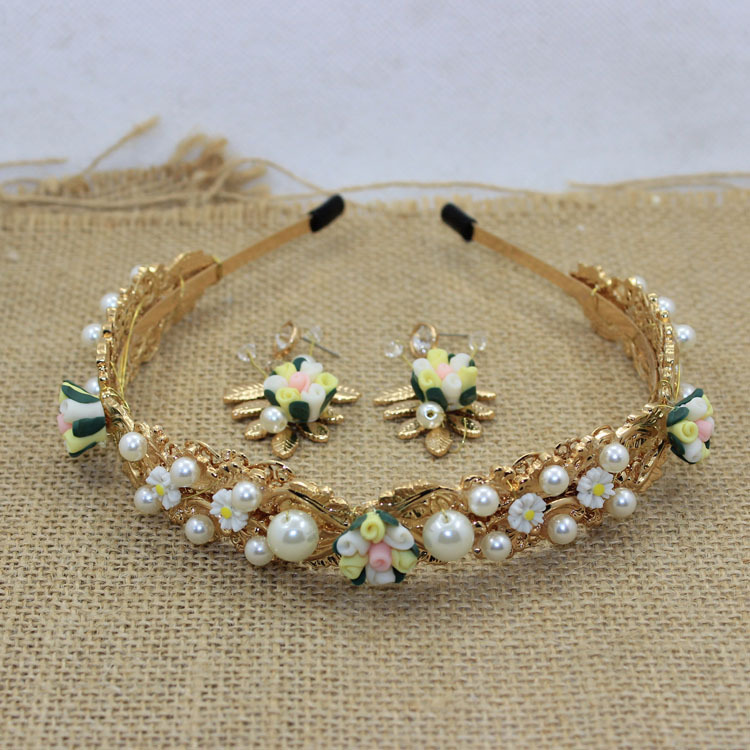 2015 Top Fashion Gold Chunky pearl Fimo Flower Headbands Baroque Fairy alloy rhinestone women hairband jewelry bk04(China (Mainland))