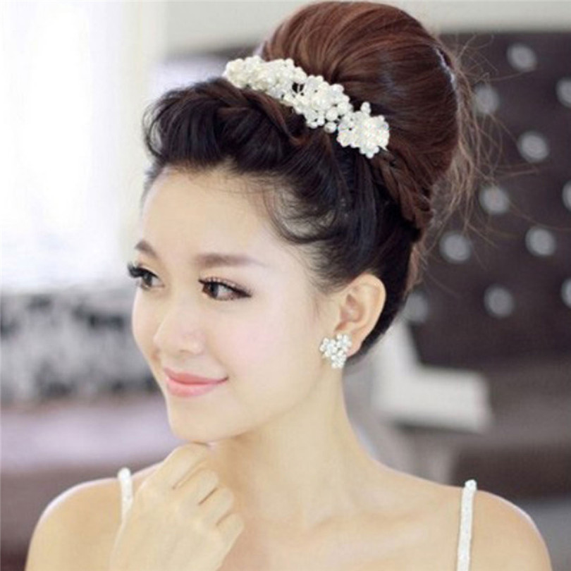 Durable Han Edition White Crystal Pearl Bride Headdress By Wedding Dress Accessories Bridal Wedding Jewelry Fast Shipping(China (Mainland))