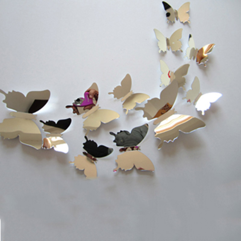 12pcs/lot Hot 3D Butterfly Mirror Wall Stickers 5 Color Party Wedding Decor DIY Super butterfly on the wall Home Decorations(China (Mainland))