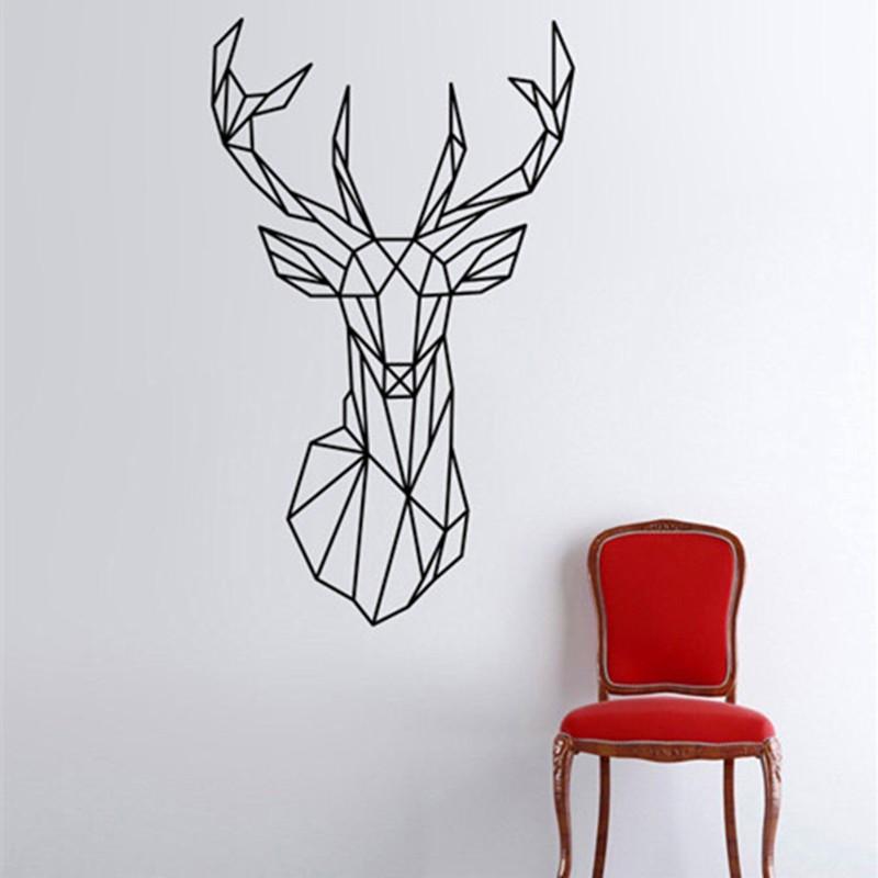 Vinilos paredes Geometric Deer Head Wall Sticker Geometry Animal Series Decals 3D Vinyl Wall Art Custom Home Decor Size 51x86 cm(China (Mainland))