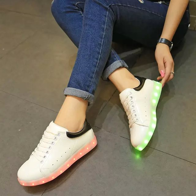 The new age season 2016 colorful glowing shoes luminous fluorescent lights USB charging LED women sandals(China (Mainland))
