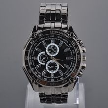 2014 new hot men watches Classic Stainless Steel Three Decorative Sub-Dials quartz Business Wristwatches zx*MPJ594#c3