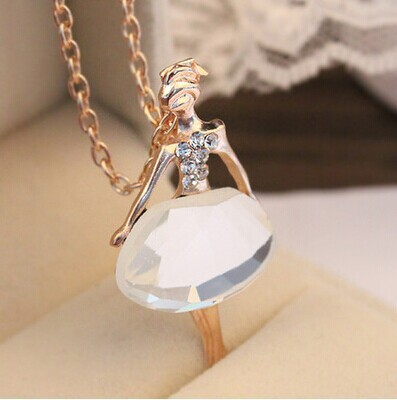 Fashion 2015 Trendy Cute Jewelry Female Full Drill Ballerina Crystal Pendant Necklace Long Sweater Chain Necklaces(China (Mainland))