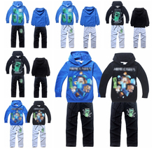 2015 new boys spring terry material fashion hoodie pants 2pcs kids hooded clothing set retail 4-14year(8 colors)(China (Mainland))