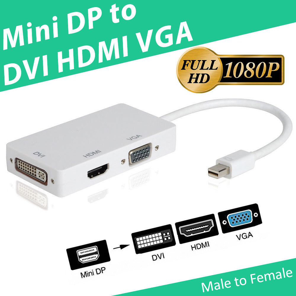 3 In 1 Thunderbolt Mini Display Port MINI DP Male To HDMI DVI VGA Female Adapter Converter Cable For Apple MacBook Air Pro MDP(China (Mainland))