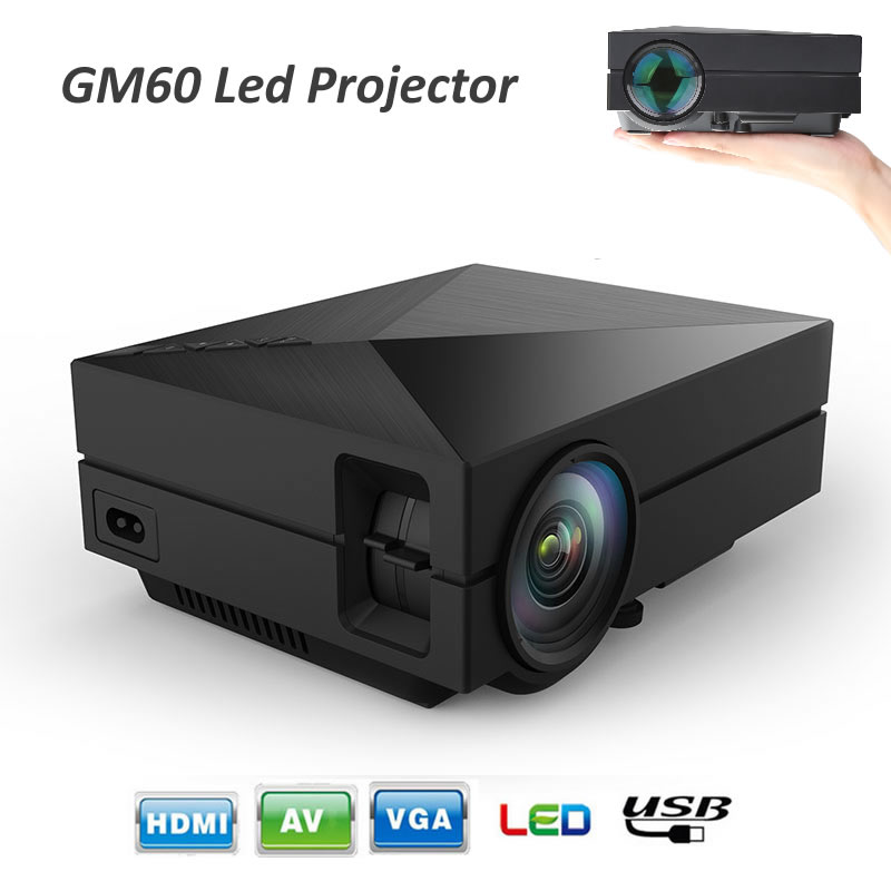 gm60 mini portable led projector hdmi input video games tv