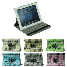 Classic 360 Degrees Rotating Grid PU Leather Smart Case Cover For Apple iPad 2 iPad 3 iPad 4 Tablet Book Protector