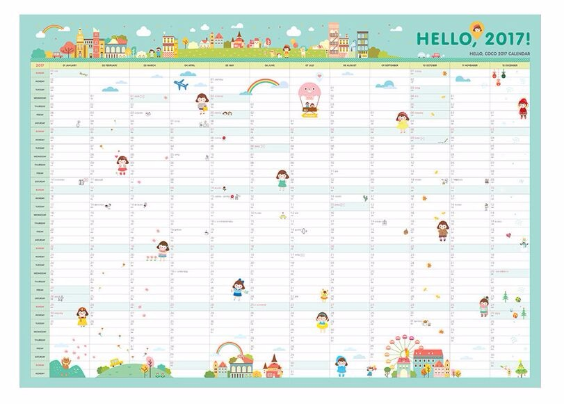 Year 2017 365 Days Drawing Daily Life Countdown Wall Calendar