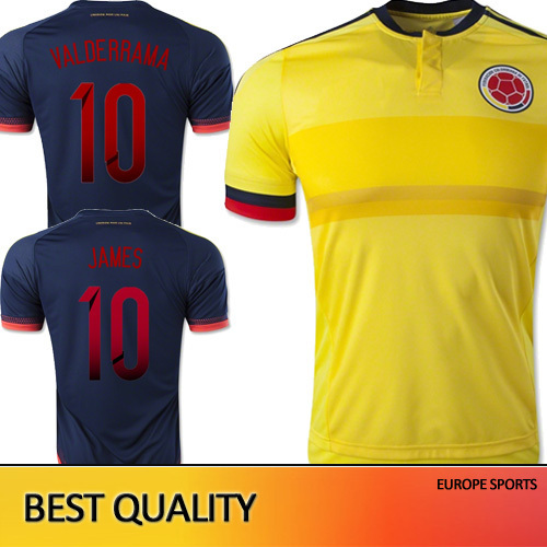 Free Shipping Colombia Jersey Shirts 15 16 James Colombia 2015 survetement Football Jerseys men sport copa america soccer jersey(China (Mainland))