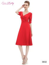 Cocktail Dresses Ever Pretty HE03632 Short Dresses Women 3/4 Sleeves Hot Sall V Neck High Stretch Plus Size Cocktail Dresses(China (Mainland))