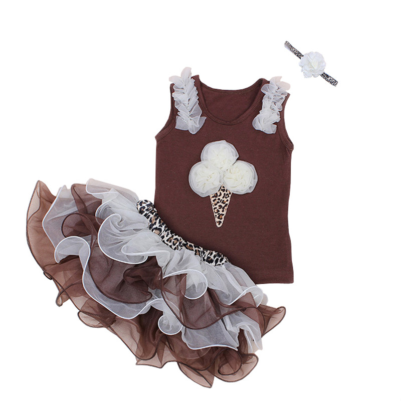 1-5Years Baby Girl Clothes Sets 100% Cotton TuTu Skirts+Vest+Headband 3Pcs 3d cake ice cream pattern(China (Mainland))