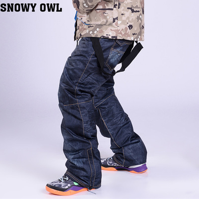 High Quality Skis Trousers Unique Casual Denim Suspenders Ski Jeans Waterproof Breathable Warm Skiing and Snowboarding Pants(China (Mainland))