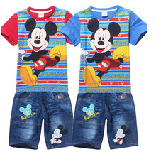Retail 2015 Children Summer clothes Cartoon Mickey Kids Boys clothing sets short sleeve t shirt+jeans 2pcs set(China (Mainland))