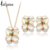 Iutopian Brand Elegant Flower Rose Gold plated Jewelry Set With Austrian Crystal Stellux High Quality #RG20697