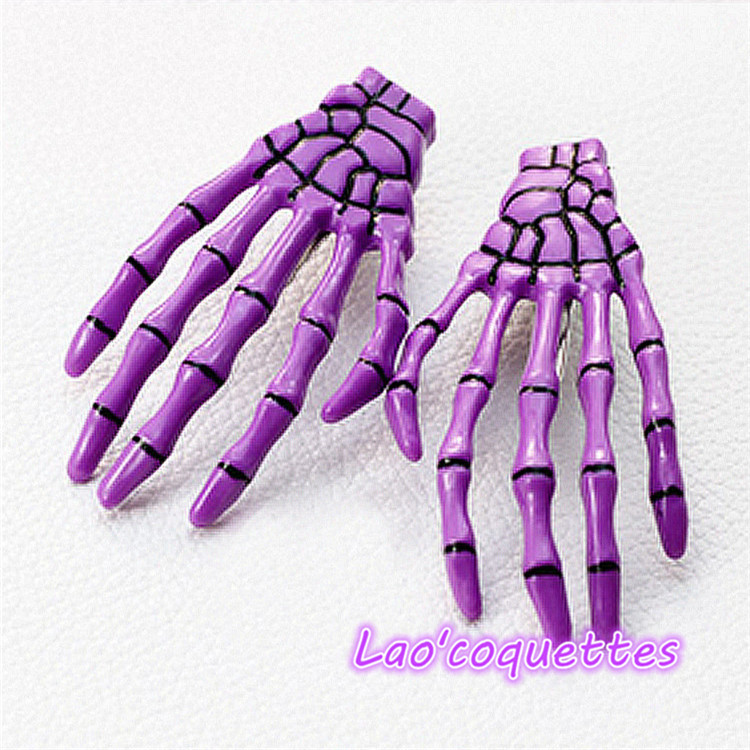 Lao'coquettes Hair Clip 2pcs 4/color Girl Stylish Devil Trendy Skeleton Hand Bone Claw Punk(China (Mainland))