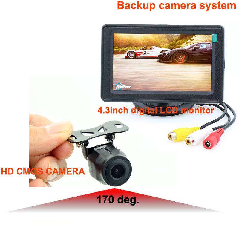"RV-4300-5 quality first reversing camera kit with 4.3"" digital LCD monitor, universal 170deg. camera for various cars/vans/etc.(China (Mainland))"
