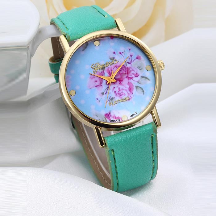2016New Fashion Floral Flower GENEVA Watch GARDEN BEAUTY BRACELET WATCH Women Dress Watches Quartz Wristwatch Watches Wholesale