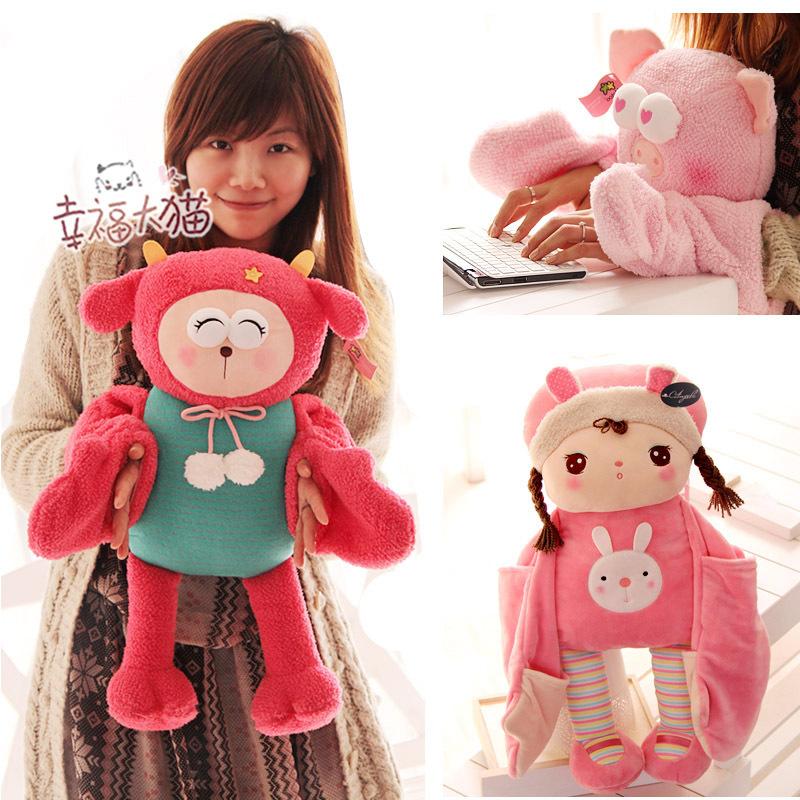 New! Winter Metoo Rabbit Plush Toys Hand Warmer Angela Embrace Pillow Best Bitthday / Christmas Gifts for Girlfriends boyfriends(China (Mainland))