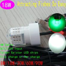 360 Beam Angle 6M Cable Length DC12V-24V 18w LED underwater fishing lamp lights Night Fishing Boat Lure(China (Mainland))