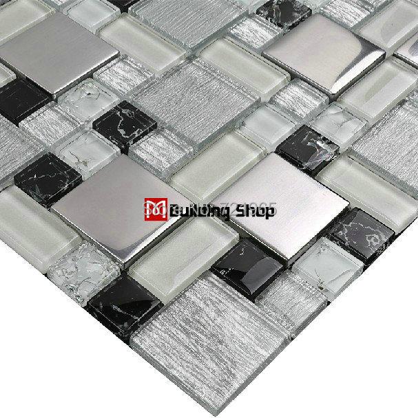 Glass mosaic tile backsplash SSMT115 black glass mosaic metallic mosaic tiles stainless steel mosaic tile sheet glass mosaic<br><br>Aliexpress