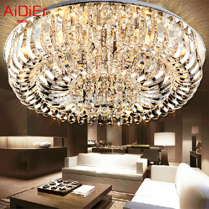 New flush mount K9 crystal modern minimalist lamp living room remote control chandelier Dia80*h35cm fixture TYI-001(China (Mainland))