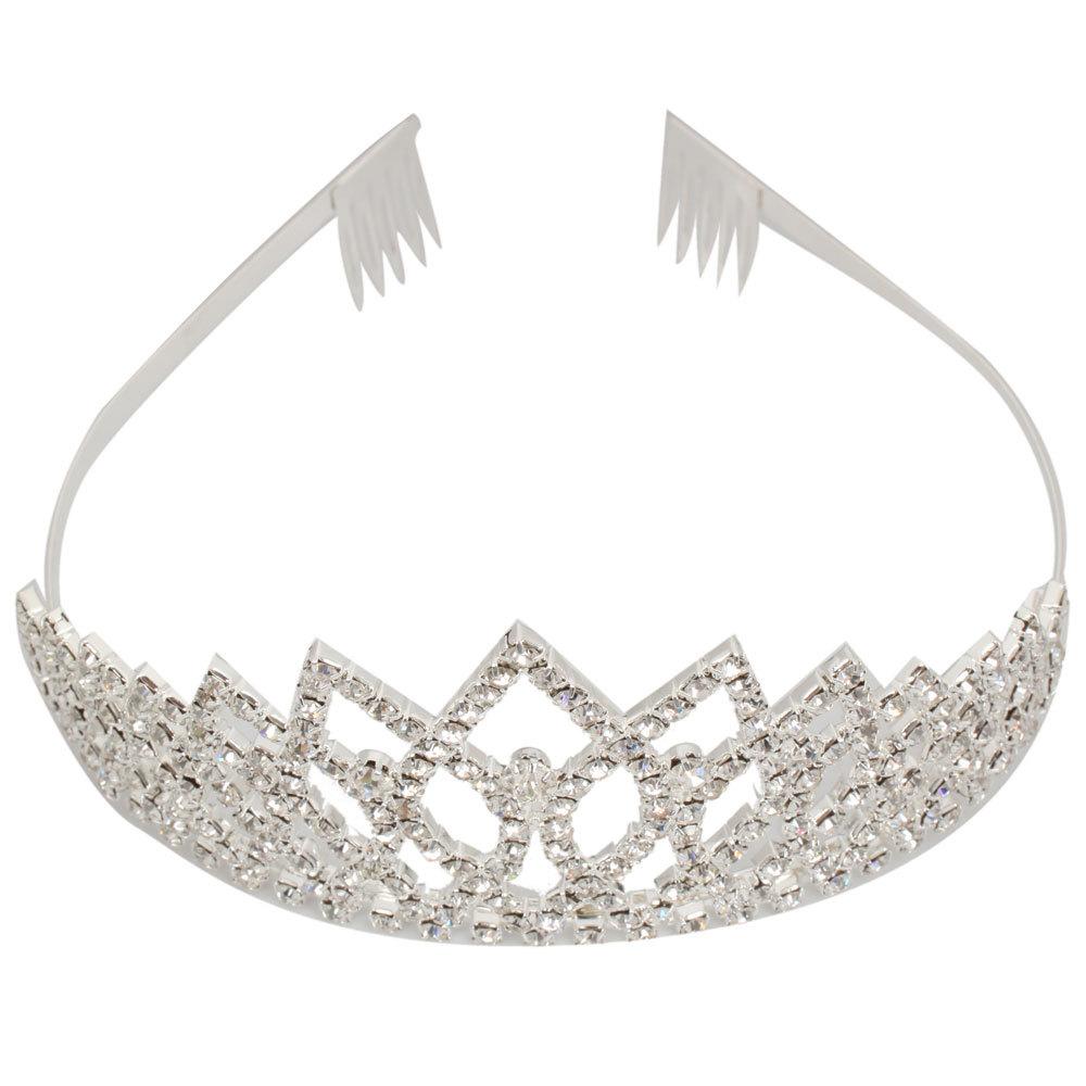 Shining Rhombus Style Rhinestone Girls Crown Headband Silver Free Shipping(China (Mainland))