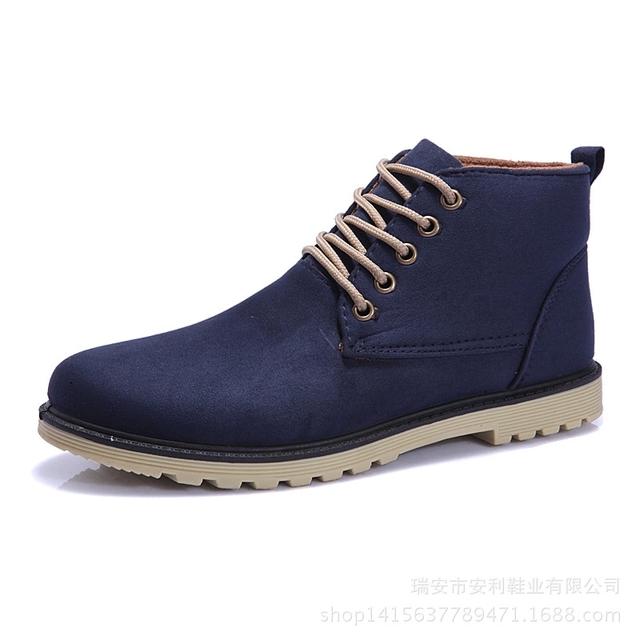 Мужская мода кожаные сапоги из замши мужской обуви вскользь ботинки дышащие высокое ...