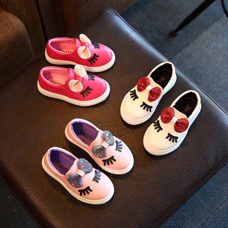 Sequins Bow Eyes Flats Bling Bow Kids Shoes Footwear Baby Girls Autumn Fashion Waterproof Leather Sports Shoes Children Sneaker
