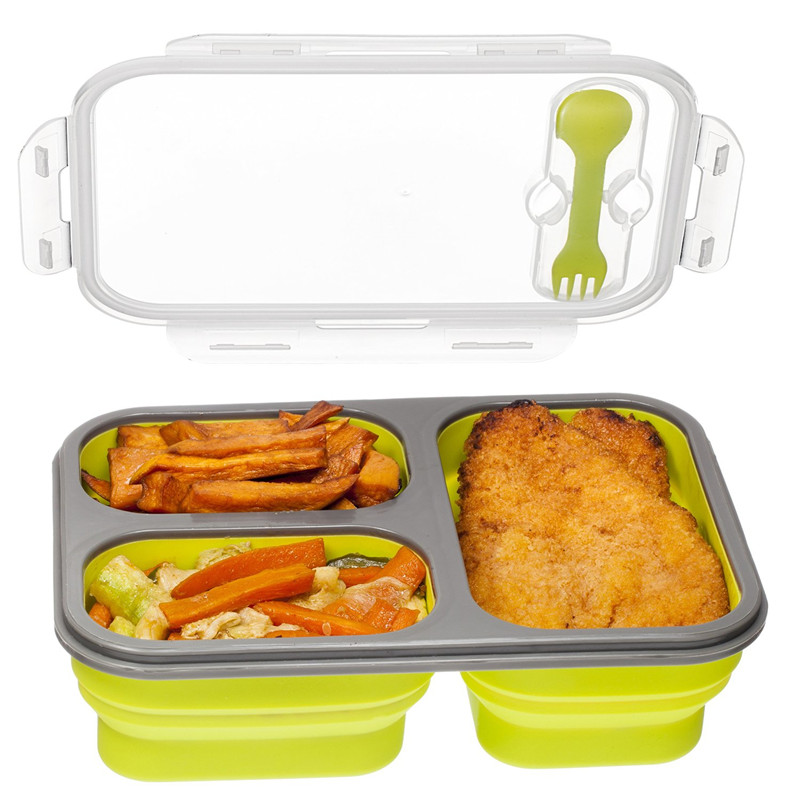 compartment food container with lid bento lunch box leak proof microwave s. Black Bedroom Furniture Sets. Home Design Ideas