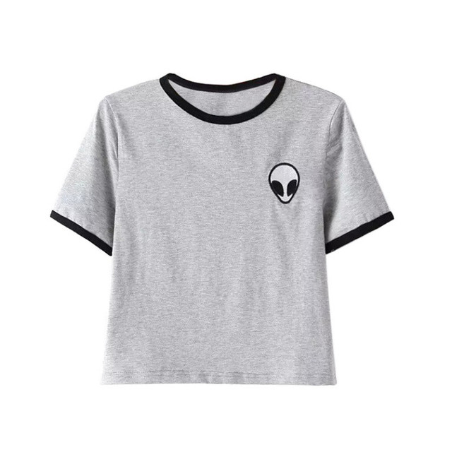 Женщины Девушки топы вышивка дизайн Иностранцев футболки с коротким рукавом tee shirt удобные студенток футболки подростки