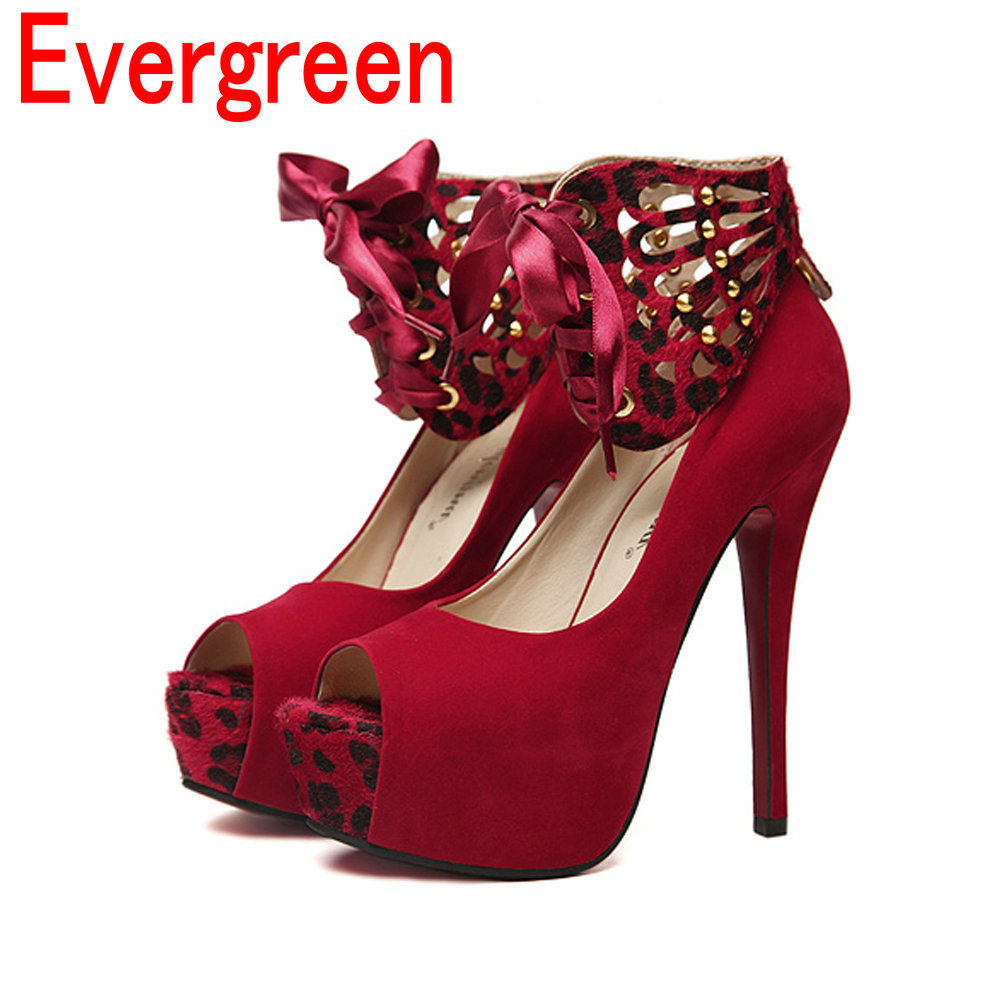Open peep toe sandals fashion red wedding shoes platform thin heels high-heeled single leopard print women pumps FS119 - Evergreen Team store
