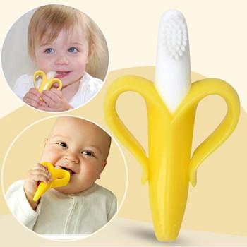 Высокое качество и экологически сейф-бэби прорезыватель зубное кольцо банан силикона ...