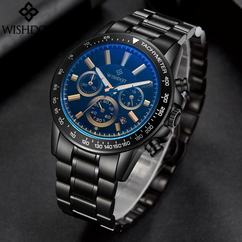 reloj hombre 2017 WISHDOIT Quartz Watch Men Sport Luxury Top Brand Clock Waterproof Stainless Steel Wristwatch relogio masculino(China (Mainland))