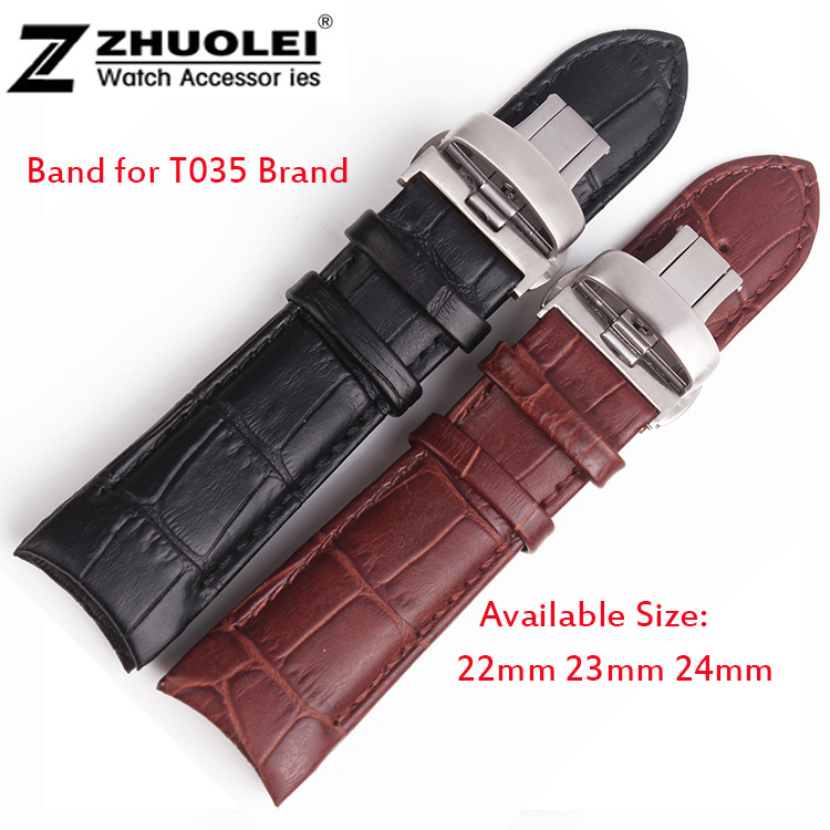 22mm 23mm 24mm Brown Alligator Pattern Genuine Leather Watch Bands Straps Bracelets Brushed Steel Butterfly Clasp For T035<br><br>Aliexpress