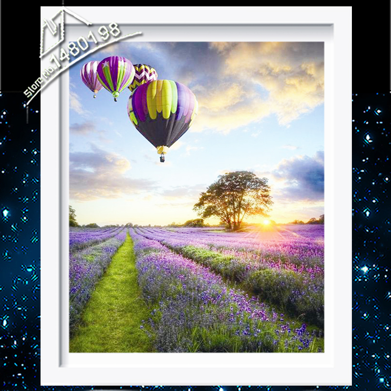 Lavender with Hot Air Balloon in the Bluesky Top Grade Beadwork Cross Stitch Landscape DMC Diamond Painting for Home Decor F4050(China (Mainland))