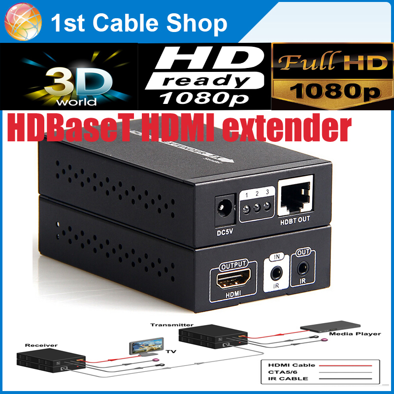 HDBaseT HDMI extender with IR hdmi 1.4V up to 70M 3D,4kX2k supported with dual power adapter(China (Mainland))
