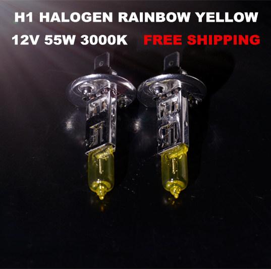 NEW 2PCS X H1 RAINBOW YELLOW XENON HALOGEN CAR HEADLIGHTS BULBS (PAPER PACKAGE) 3000K 12V 55W FREE SHIPPING(China (Mainland))