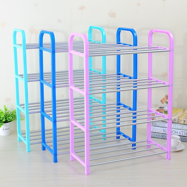 Color Iron Pipe Four Layers Door Shoe Racks Home Plastic DIY Shoe Racks Shelf(China (Mainland))