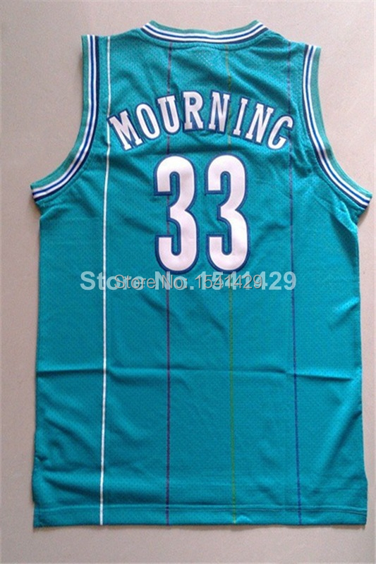 Charlotte Hornets 33 Alonzo Mourning Light Blue Throwback Baskeball Jersey, Cheap Vintage Rerto New Rev 30 Embroidery Logos(China (Mainland))