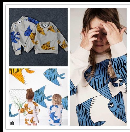 2015 mini rodini Fishes Print Sweatshirt hoodies children s sweatshirt boy hoodies for girls baby sweater