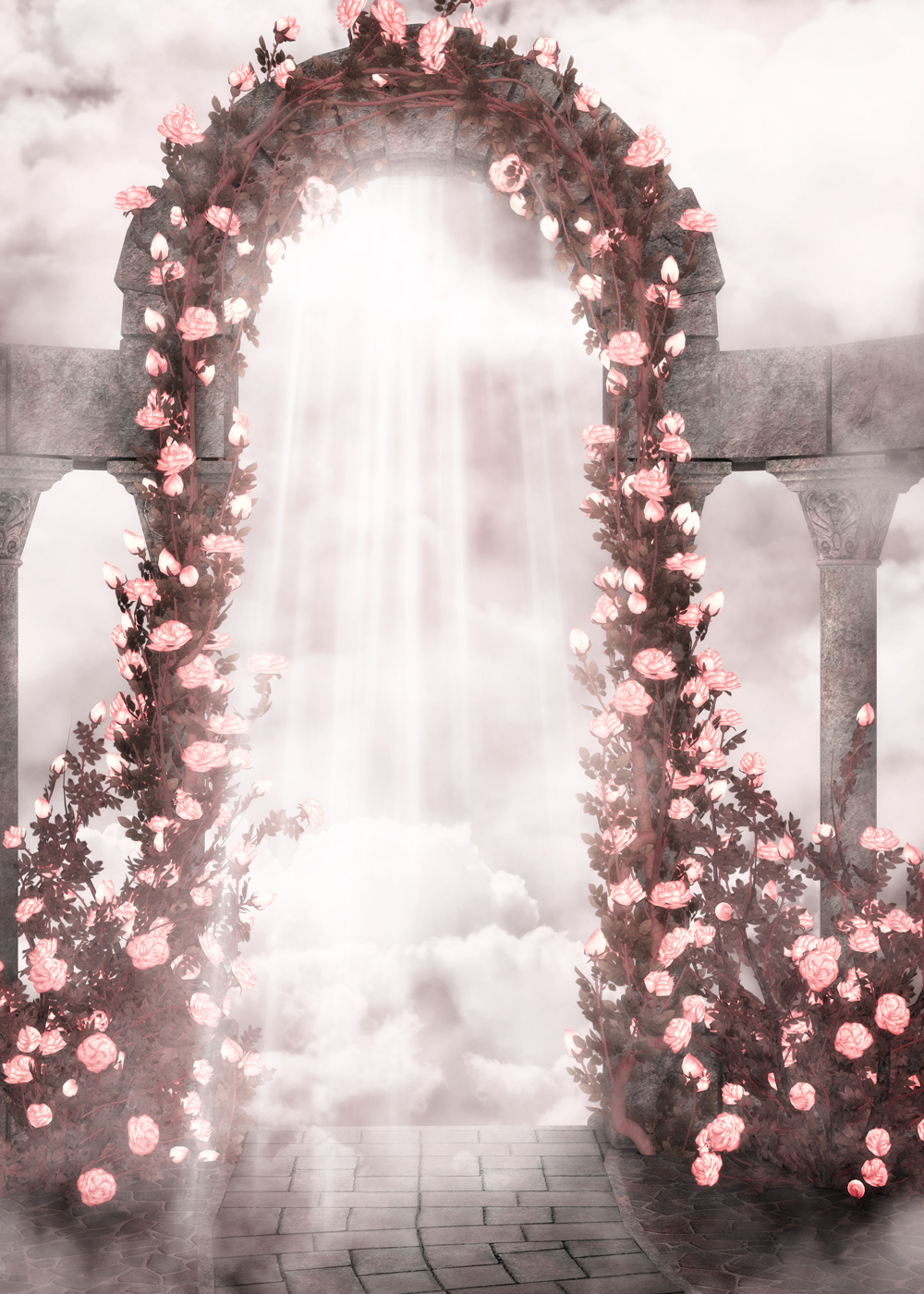 send rolled ! 5'x7'  Flower Gate Backdrop - pink flower door, romantic wedding - Printed Fabric Photography Background F0427